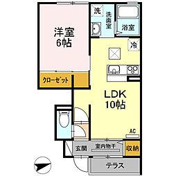 鳥取県倉吉市旭田町の賃貸アパートの間取り