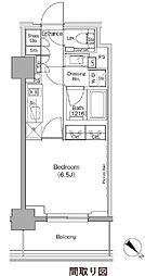 ザ・パークハビオ月島フロント 5階1Kの間取り