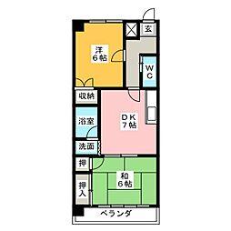 シャトーレ八幡[2階]の間取り