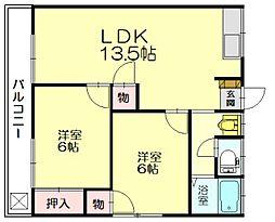 福岡県糟屋郡志免町片峰3丁目の賃貸アパートの間取り