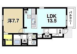 JR桜井線 三輪駅 徒歩17分の賃貸アパート 1階1LDKの間取り