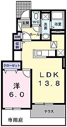 JR八高線 箱根ヶ崎駅 徒歩17分の賃貸アパート 1階1LDKの間取り