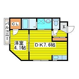 札幌市営東豊線 元町駅 徒歩4分の賃貸マンション 3階1DKの間取り