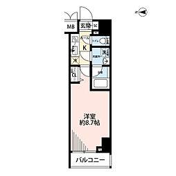 プレール・ドゥーク文京湯島 8階1Kの間取り