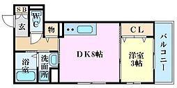 エルクルー舟入 3階1DKの間取り