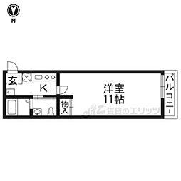 京阪本線 七条駅 徒歩5分の賃貸マンション 2階1Kの間取り