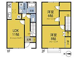 神奈川県横浜市鶴見区獅子ケ谷2丁目の賃貸アパートの間取り