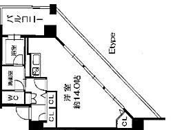 Osaka Metro長堀鶴見緑地線 西長堀駅 徒歩3分の賃貸マンション 9階ワンルームの間取り