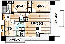 アースコートディアマーレ門司駅前[5階]の間取り