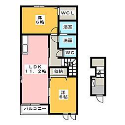 愛知県稲沢市稲沢町北山1丁目の賃貸アパートの間取り