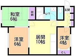 ミカワハイツ3 2階3LDKの間取り