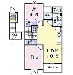 さくらガーデンB[2階]の間取り