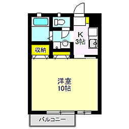 M・Mハイツ 2階1Kの間取り