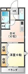 岡山県倉敷市八王寺町丁目なしの賃貸アパートの間取り