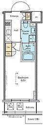 プラウドフラット木場II 4階1Kの間取り