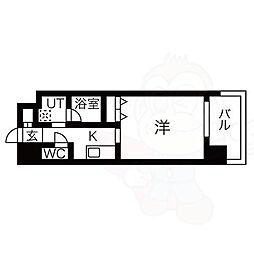 名古屋市営東山線 八田駅 徒歩1分の賃貸マンション 12階1Kの間取り