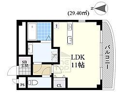DIT COART 1階ワンルームの間取り