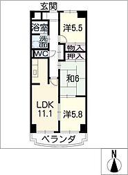ドミー渡辺[7階]の間取り