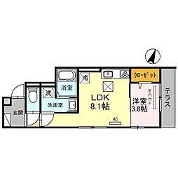 阪神本線 新在家駅 徒歩5分の賃貸アパート 3階1LDKの間取り