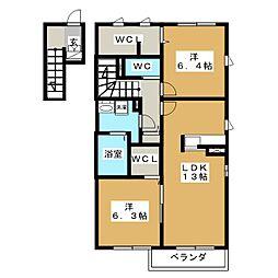 リラフォート B棟[2階]の間取り