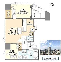 プラウドタワー白金台 34階2LDKの間取り