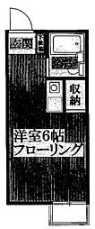 柿の木ハイツ[203号室]の間取り