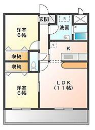 ドミール陽水[3階]の間取り