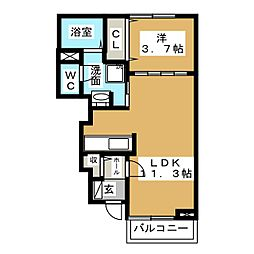 愛知県一宮市伝法寺3丁目の賃貸アパートの間取り