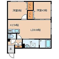 北海道札幌市東区北二十四条東18丁目の賃貸マンションの間取り