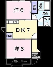 コ−ポ石川 D[0101号室]の間取り