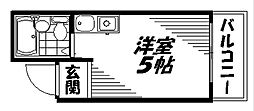 Osaka Metro谷町線 太子橋今市駅 徒歩3分の賃貸マンション 4階ワンルームの間取り
