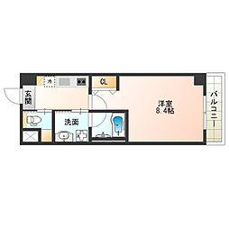 近鉄南大阪線 北田辺駅 徒歩1分の賃貸マンション 4階1Kの間取り