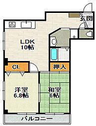 Kマンション[203号室]の間取り