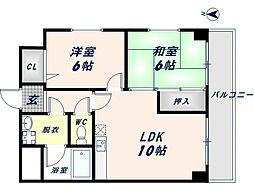 足代北パークマンション[4D号室]の間取り
