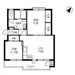 神奈川県横浜市南区別所中里台の賃貸マンションの間取り