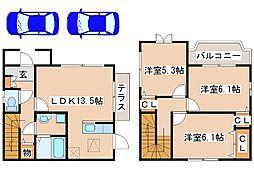 [テラスハウス] 兵庫県神戸市西区小山2丁目 の賃貸【/】の間取り