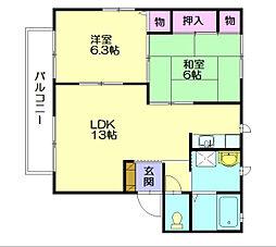 カーサクレアール2[2階]の間取り