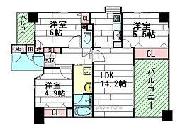 セントラル江坂EAST[4階]の間取り