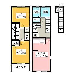 ウィステリア ガーデンB[2階]の間取り