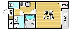 阪神本線 野田駅 徒歩9分の賃貸アパート 2階1Kの間取り