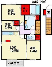 カルドーK&K B棟[2階]の間取り