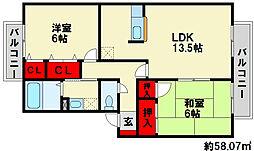 セジュール白水[1階]の間取り