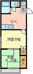 マリンハイツ江川 2階2DKの間取り
