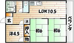 亀川ハイツ[4階]の間取り