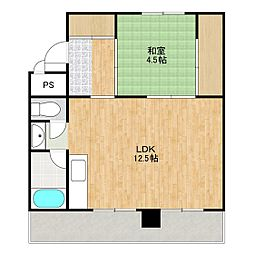 ビレッジハウス新千代田1号棟 3階1LDKの間取り