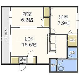 グランメール平岸512[3階]の間取り