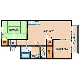 奈良県橿原市常盤町の賃貸アパートの間取り