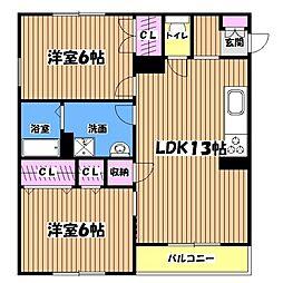 東京都青梅市藤橋2丁目の賃貸マンションの間取り