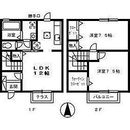 [テラスハウス] 愛媛県松山市来住町 の賃貸【愛媛県 / 松山市】の間取り