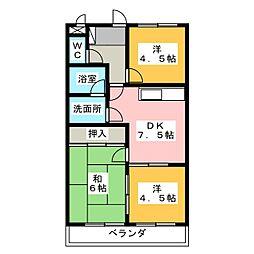 第二マルヤスハイツ[3階]の間取り